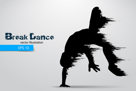Silhouette of a break dancer from particles. Vector illustration