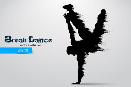 Silueta de un bailarín de break de partículas. Ilustración del vector