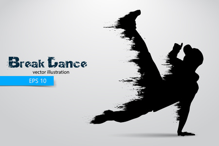 hip hop silhouette: Silhouette of a break dancer from particles. Vector illustration