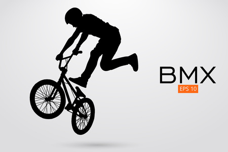 Silhouette of a BMX rider, Vector illustration