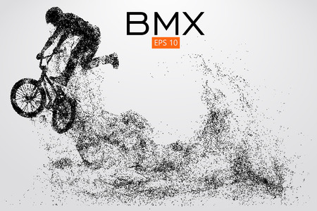 Silhouette of a BMX rider. Background and text on a separate layer, color can be changed in one click.