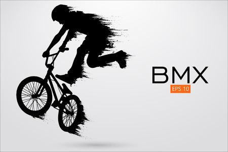 Silhouette of a BMX rider. Background and text on a separate layer, color can be changed in one click. Vector illustration