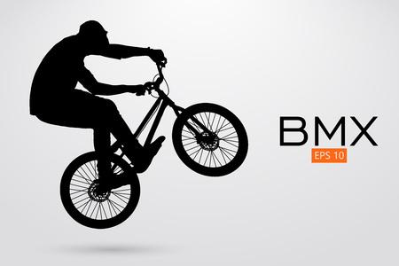 BMX ライダーのシルエット。ベクトル図  イラスト・ベクター素材