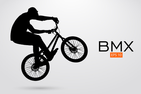 Silueta de un jinete de BMX. Ilustración del vector Foto de archivo - 78761391