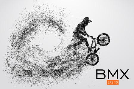 Silhouet van een BMX renner. Vector illustratie