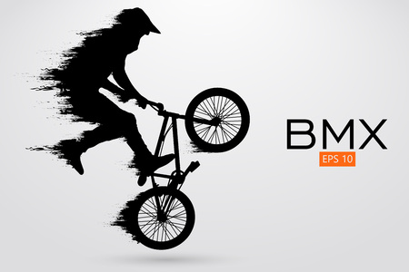 Silhouette of a BMX rider. Vector illustration