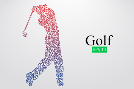 game drive: Silhouette of a golf player. Vector illustration