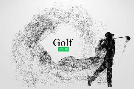 Silhouet van een golfspeler. Vector illustratie Stock Illustratie