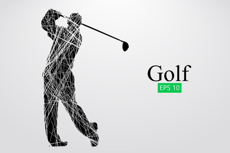 Silhouette of a golf player. Vector illustration Фото со стока - 78812258