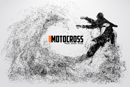 Motocross stuurprogramma's silhouet. Vector illustratie Stock Illustratie