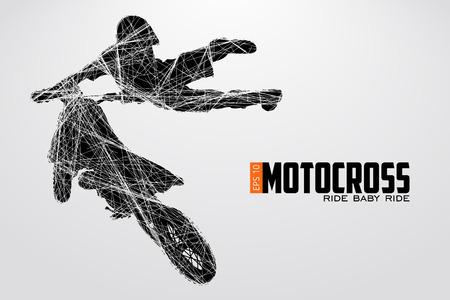 Motocross stuurprogramma's silhouet