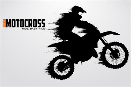 Silhouette dei motocross piloti. Illustrazione vettoriale Vettoriali