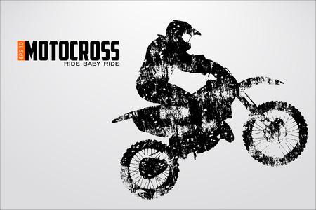Motocross drivers silhouette Vektorové ilustrace