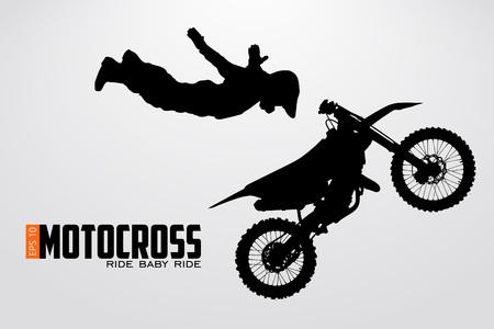Motocross bestuurders silhouet Stock Illustratie