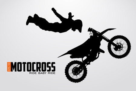 Motocross drivers silhouette