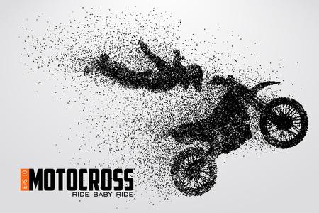 Motocross drivers silhouet Vector illustratie Stock Illustratie