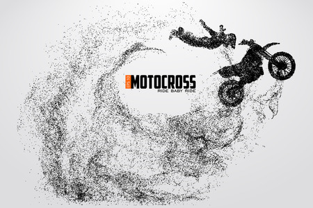 Motocrossbestuurders silhouet Vectorillustratie