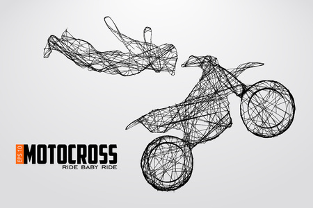 Motocross stuurprogramma's silhouet vectorillustratie Stock Illustratie