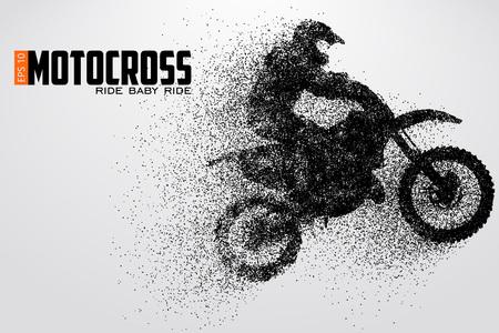 Motocross drivers silhouette vector illustration Vettoriali