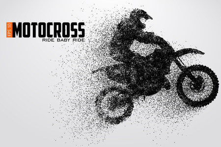 Motocross drivers silhouette vector illustration Çizim