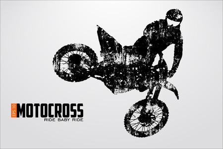 Motocross drivers silhouet. Vector illustratie Stockfoto