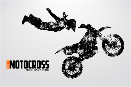 dangerous man: Motocross drivers silhouette. Vector illustration
