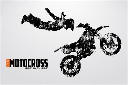 Silhouette dei motocross piloti. Illustrazione vettoriale Archivio Fotografico - 79223215