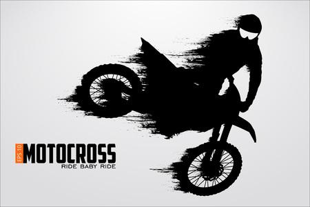Motocross stuurprogramma's silhouet. Vector illustratie Stockfoto