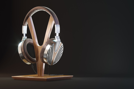 Retro headphones. Vintage old style 3d render illustration