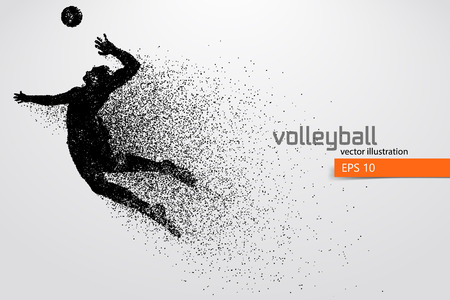 Silhouette of volleyball player. 免版税图像 - 83553779