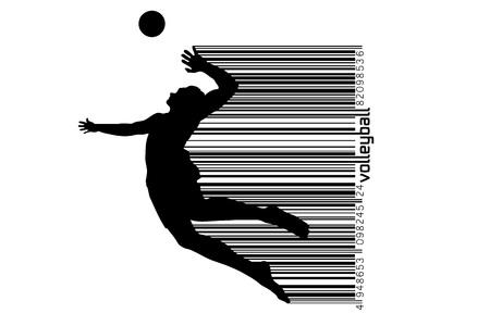 Silhouette du joueur de volleyball. Banque d'images - 83553780