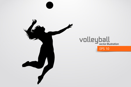 Silhouette of volleyball player. Stock Vector - 83553784
