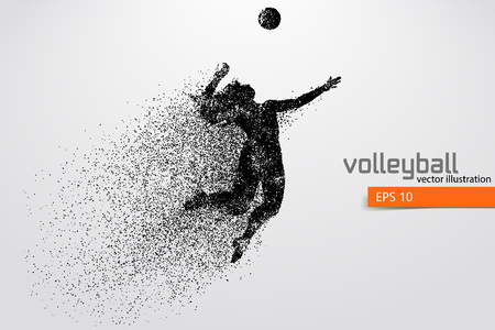 Silhouette of volleyball player. Stok Fotoğraf - 83553795