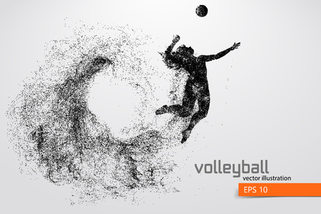 Silhouette of volleyball player. Stock Vector - 83553792