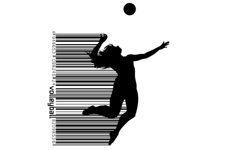 Silhouette of volleyball player. 版權商用圖片 - 83553791