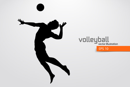 Silhouette of volleyball player. Stok Fotoğraf - 83553798