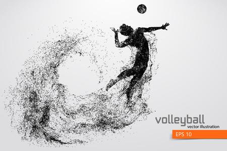 Silueta del jugador de voleibol. Ilustración de vector