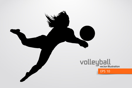 Silhouette du joueur de volleyball. Banque d'images - 83553807