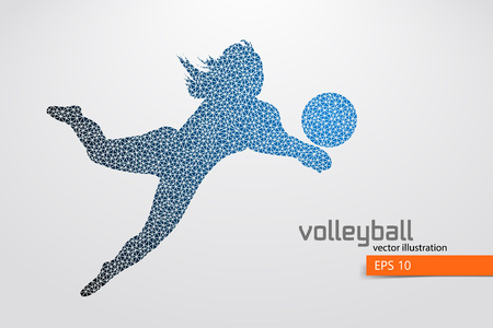 Silhouette of volleyball player.
