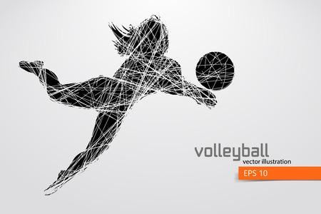 Silhouette des Volleyballspielers. Standard-Bild - 83553818