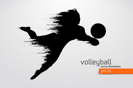 volley: Silhouette of volleyball player.