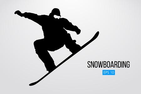 Silueta de un snowboarder que salta aislado. Ilustración vectorial
