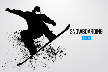 Silhouette of a snowboarder jumping isolated. Vector illustration Фото со стока - 84278795