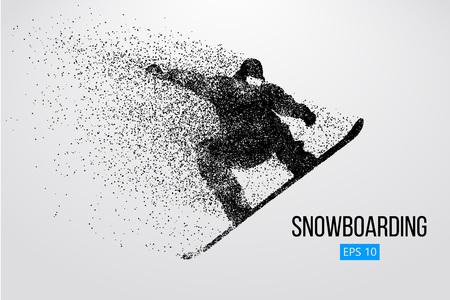 Silueta de un snowboarder que salta aislado. Ilustración vectorial Foto de archivo - 84273284