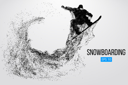 Silhouette of a snowboarder jumping isolated. Vector illustration Reklamní fotografie - 84278798