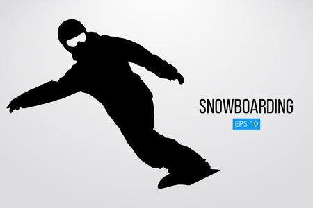 分離したスノーボーダーのシルエット。ベクトル図