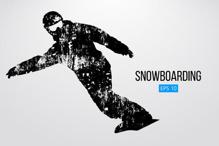 Silhouet van een snowboarder geïsoleerd. Vector illustratie