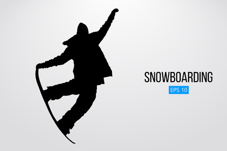 Silhouette of a snowboarder jumping isolated. Vector illustration Stock Vector - 84273265