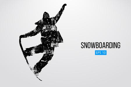 Silhouet van een snowboarder springen geïsoleerd. Vector illustratie Stock Illustratie
