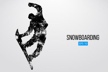 Silhouet van een snowboarder geïsoleerd springen. Achtergrond en tekst op een aparte laag, kleur kan met één klik worden gewijzigd. Vector illustratie